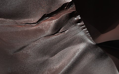 Gullies in sand dunes on Mars