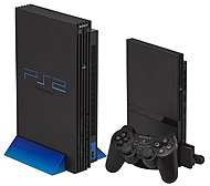 Slimline (right) and Original (left) PS2 consoles