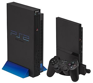 PlayStation - Original PlayStation 2 console (left) and slimline PlayStation 2 console with 8 MB Memory Card and DualShock 2 controller (right)