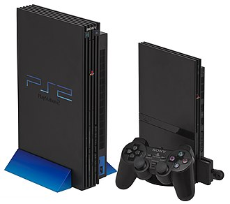 PlayStation 2 - Left: Original PlayStation 2, with vertical stand Right: Slimline PlayStation 2, with vertical stand, 8 MB memory card and DualShock 2 controller