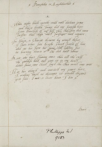 Lady Mary Wroth - The first sonnet of Wroth's manuscript of Pamphilia to Amphilanthus, c. 1620