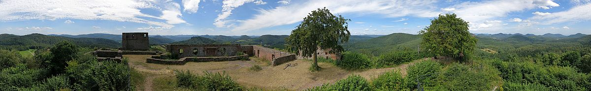 Panoramic view over the Palatinate Forest and the ruins of Lindelbrunn Castle