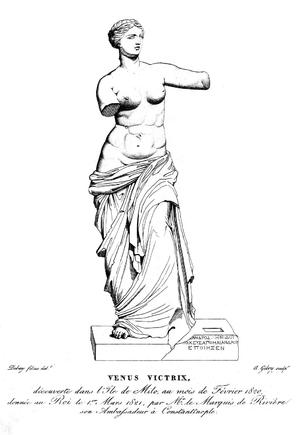 Estampe gravée par Alexandre Giboy en 1821, d'après un dessin d'un des fils Debay, reconstituant la plinthe de la statue avec le fragment inscrit aujourd'hui disparu.