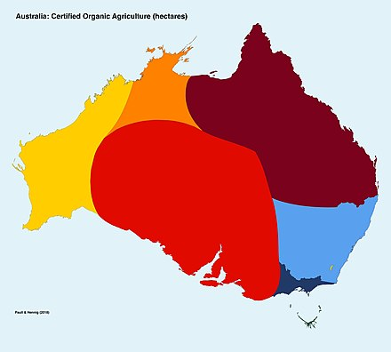 A density-equalising map of organic agriculture in Australia based on certified organic hectares. Australia accounts for more than half of the world's certified organic hectares. PaullHennig.2018.OrganicHectaresMap.jpg
