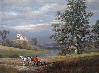 Landscape from Pedersborg near Sorø. Pedersborg Church