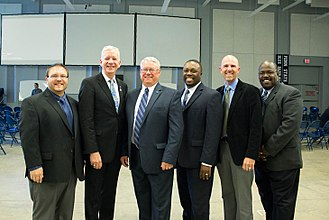 Blue Band - L-R: Eric W. Bush, Dennis Glocke, O. Richard Bundy, Gregory Drane, Carter Biggers, and Darrin Thornton