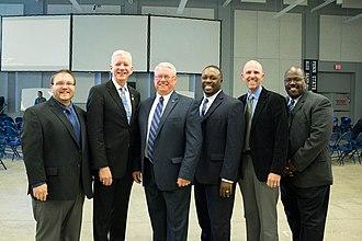 Blue Band - L-R: Eric W. Bush, Dennis Glocke, O. Richard Bundy, Gregory Drane, Carter Biggers, and Darrin Thornton