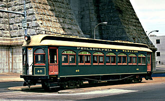 Penn's Landing - A 1907 interurban car on the former trolley line, in 1990.