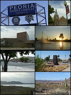 از بالا, چپ به راست: Peoria Sports Complex sign, Peoria Presbyterian Church, Peoria Center for the Performing Arts, Rio Vista Community Park, Old Town Peoria, Pioneer Memorial Statue, Lake Pleasant Regional Park, WestWing neighborhood