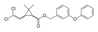 Chemical structure of permethrin