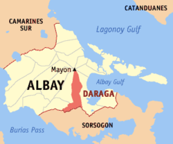 Map of Albay with Daraga highlighted