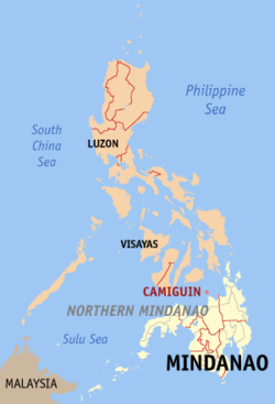 Map of the Philippines with Camiguin highlighted