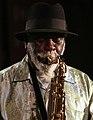 Pharoah Sanders Quartet ft Dwight Trible and Howard Johnson - INNtöne Jazzfestival 2013 35 (cropped).jpg