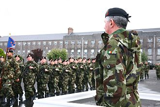 1st Brigade (Ireland) - Soldiers parade at Collins Barracks in Cork, HQ of the Army's 1st Brigade