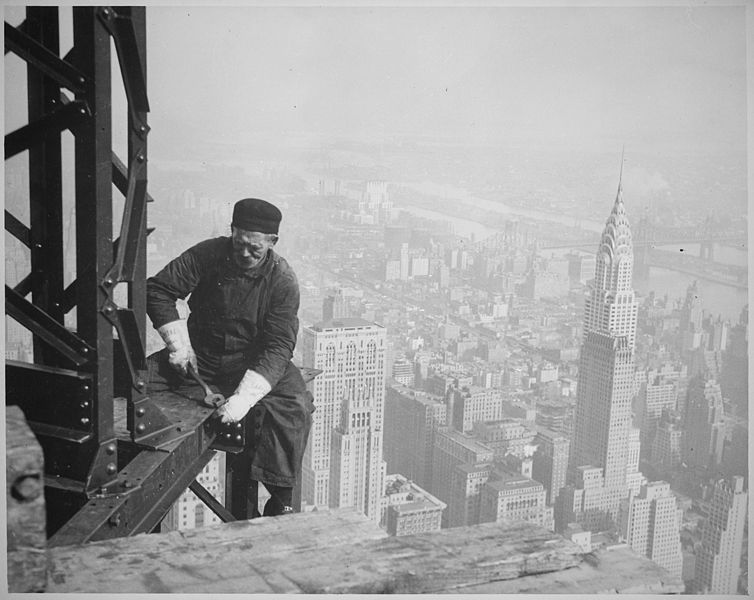 File:Photograph of a Workman on the Framework of the Empire State Building - NARA - 518290.jpg
