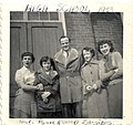 Photograph taken outside Deseronto High School in 1953. Left to right- Bev Cole (later Boomhour), Paula Akey, Ken Scovell, Jean Armitage, Donna Cole. (15697002470).jpg