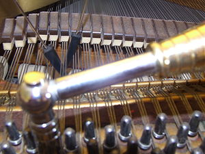 "Piano tuning - A piano tuner's most basic tools include the tuning lever (or ""hammer"") and mutes"