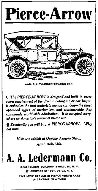 Pierce-Arrow Motor Car Company - A 1912 Pierce-Arrow advertisement, Syracuse Journal, 12 April 1910