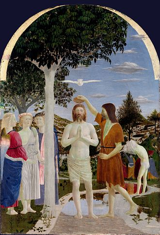 The Baptism of Christ, by Piero della Francesca, 15th century Piero, battesimo di cristo 04.jpg
