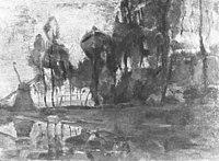 Piet Mondriaan - Windmill near tall trees, other trees at right - A422 - Piet Mondrian, catalogue raisonné.jpg