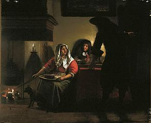 Interior with Two Gentleman and a Woman Beside a Fire