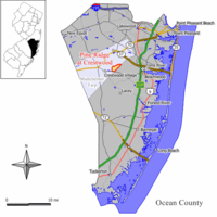 Map of Pine Ridge at Crestwood CDP in Ocean County. Inset: Location of Ocean County in New Jersey.