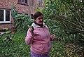 Pink human holding a hand saw in Auderghem, Belgium (DSCF2362).jpg