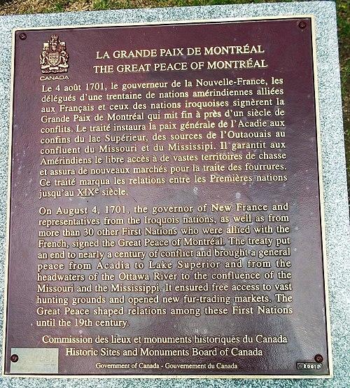 Plaque la grande paix de montreal