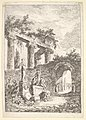Plate 3- The Statue Before the Ruins- a statue to left next to three figures on a pedestal, a beggar standing in an archway to right, four columns and the remains of an entablature to top left, from 'Les soirées de Rome' MET DP829180.jpg
