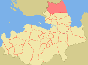 North Ingria - Location of North Ingria (in red), within the historical region of Ingria (in light beige).