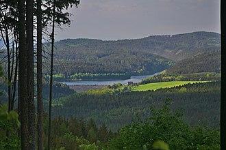 Brno Highlands - Image: Pohled na Vodní nádrž Boskovice ze skalky jihozápadně od Valchova, okres Blansko (02)