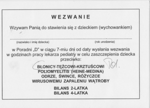 Vaccination schedule - Example Polish call for vaccination against Diphtheria and Tetanus.