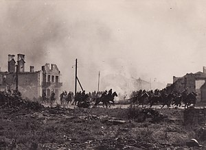 Battle of the Bzura: Polish cavalry in Sochaczew in 1939. Iconic image of the end of era of cavalry.