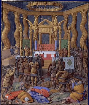 Timeline of Jerusalem - Pompey in the Temple, 63 BCE (Jean Fouquet 1470–1475)