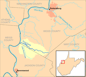 Pond Creek (West Virginia) - Image: Pond Creek WV map