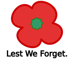English: Remembrance day poppy icon and slogan