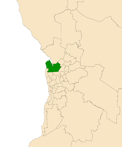 Map of Adelaide, South Australia with electoral district of Port Adelaide highlighted