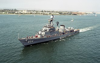 Republic of Korea Navy - The indigenously built Ulsan class frigate, ROKS Gyeongbuk (FF 956)