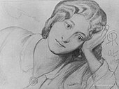drawing of young woman, reclining