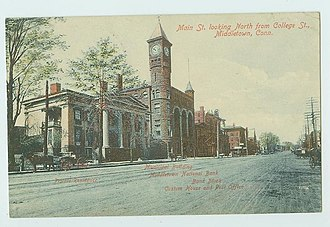 Main Street Historic District (Middletown, Connecticut) - Image: Postcard Main St Looking North Middletown CT