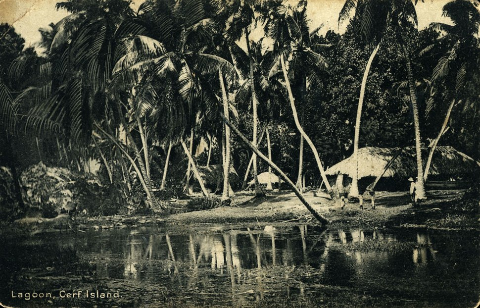 Postcard of the lagoon at Cerf Island in the Seychelles, HMAS SYDNEY (II) refuelled there in January 1941 (27303623761)