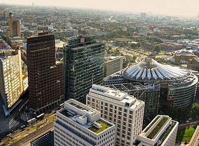 View over Potsdamer Platz, headquarters of Deutsche Bahn and Daimler