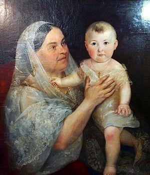 Pozharsky cutlet - Darya Pozharskaya with a child. Painting by Carl Timoleon von Neff