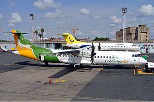 Precision Air - A Precision Air ATR 72-212A at Jomo Kenyatta International Airport, Nairobi, in 2012