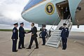 President Barack Obama is greeted by U.S. Air Force Col. Daniel Dant.jpg