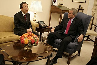 Ban Ki-moon - U.S. President George W. Bush talks with United Nations Secretary-General Ban Ki-moon of South Korea in October 2006. In their early meetings, Ban stressed the importance of confronting global warming.