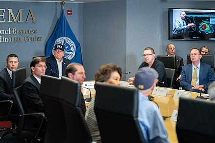 President Trump at a FEMA briefing on the hurricane President Trump at FEMA (48665164233).jpg
