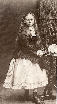 Princess Beatrice in 1868. Her late childhood brought little companionship since Prince Leopold, the sibling closest to her age, could not play because of his haemophilia.