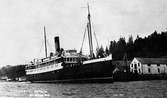 SS Princess Sophia - Princess Sophia at Alert Bay, BC. A typical scene of a coastal liner calling at a port on Canada's west coast.