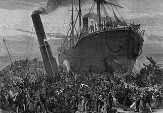Sinking of SS Princess Alice - Artist's impression of the collision